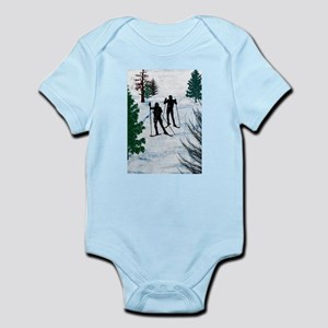Two Cross Country Skiers in Snow Squall Body Suit