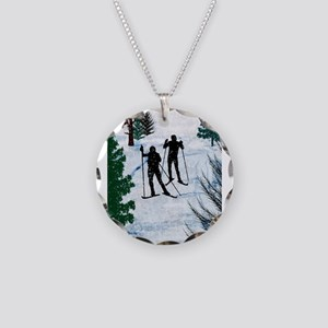 Two Cross Country Skiers in Necklace Circle Charm