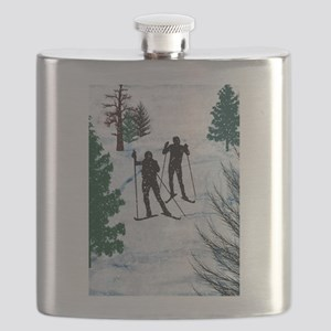 Two Cross Country Skiers in Snow Squall Flask