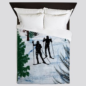 Two Cross Country Skiers in Snow Squal Queen Duvet