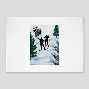 Two Cross Country Skiers in Snow Sq 5'x7'Area Rug