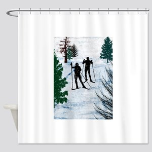 Two Cross Country Skiers in Snow Sq Shower Curtain