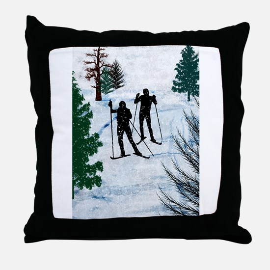 Two Cross Country Skiers in Snow Squa Throw Pillow