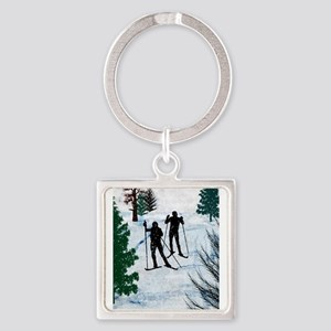 Two Cross Country Skiers in Snow Squall Keychains
