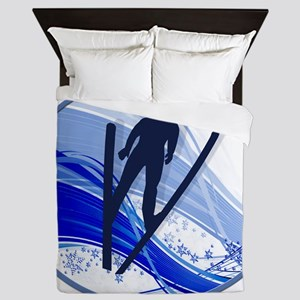 Skiing and Snowflakes Queen Duvet