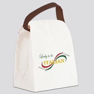 LUCKY TO BE ITALIAN Canvas Lunch Bag