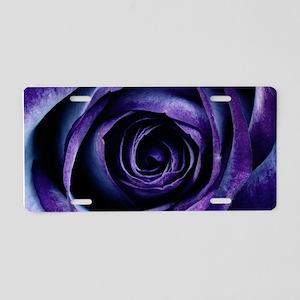 Purple Blue Rose Bloom Aluminum License Plate