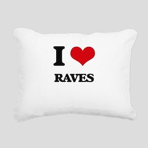 I Love Raves Rectangular Canvas Pillow