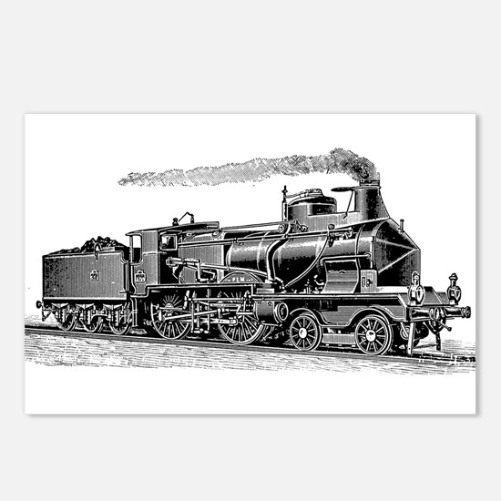 VINTAGE TRAINS Postcards (Package of 8)