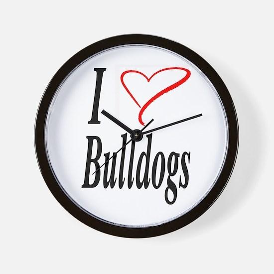 I Love Bulldogs Wall Clock