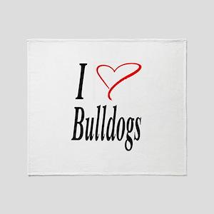I Love Bulldogs Throw Blanket
