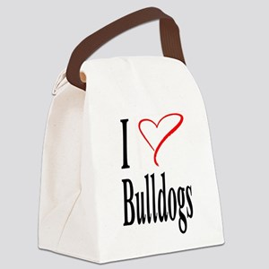 I Love Bulldogs Canvas Lunch Bag