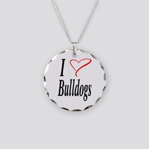 I Love Bulldogs Necklace Circle Charm
