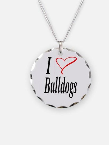 I Love Bulldogs Necklace Circle Charm
