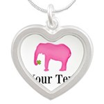 Personalizable Pink Elephant With Clover Necklaces