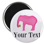 Personalizable Pink Elephant With Clover Magnets