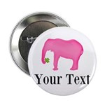 Personalizable Pink Elephant With Clover 2.25