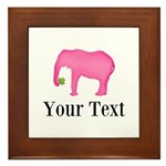 Personalizable Pink Elephant With Clover Framed Ti