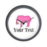 Personalizable Pink Elephant With Clover Wall Cloc