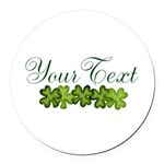 Personalizable Shamrocks Round Car Magnet