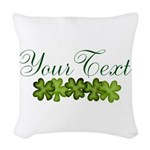 Personalizable Shamrocks Woven Throw Pillow