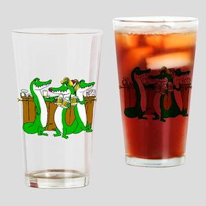 Alligators At Bar Drinking Glass