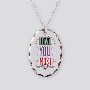 Love You Most Necklace Oval Charm