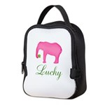 Personalizable Pink Elephant Neoprene Lunch Bag