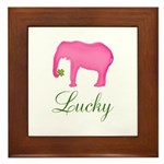 Personalizable Pink Elephant Framed Tile