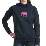 Personalizable Pink Elephant Women's Hooded Sweats