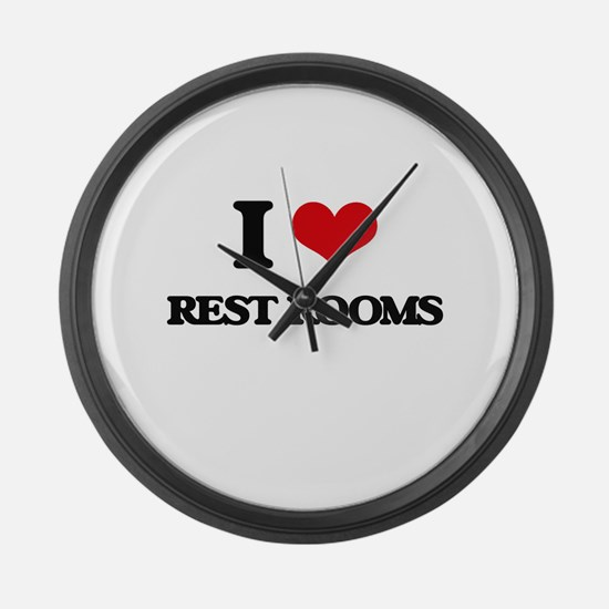 I Love Rest Rooms Large Wall Clock