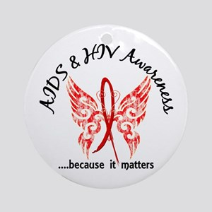 AIDS Butterfly 6.1 Ornament (Round)