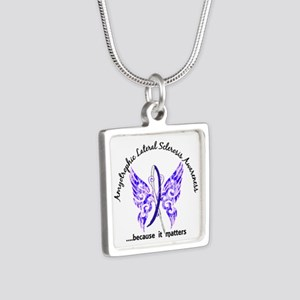 ALS Butterfly 6.1 Silver Square Necklace