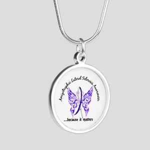 ALS Butterfly 6.1 Silver Round Necklace