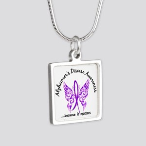 Alzheimer's Disease Butter Silver Square Necklace