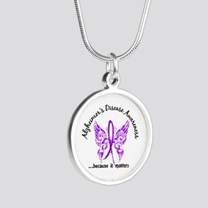 Alzheimer's Disease Butterfl Silver Round Necklace