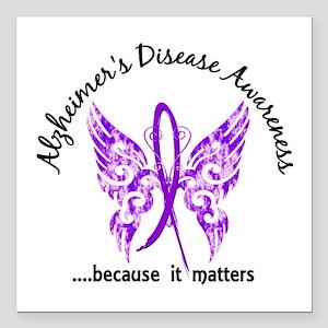 "Alzheimer's Disease Butt Square Car Magnet 3"" x 3"""