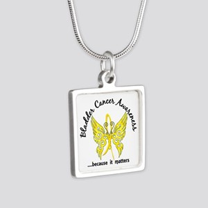 Bladder Cancer Butterfly 6 Silver Square Necklace