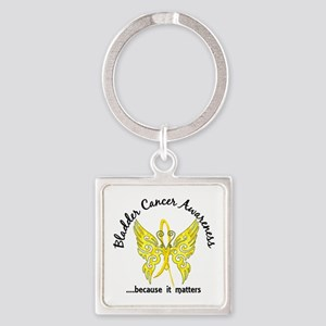 Bladder Cancer Butterfly 6.1 Square Keychain