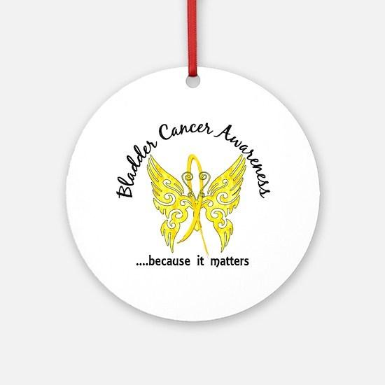 Bladder Cancer Butterfly 6.1 Ornament (Round)