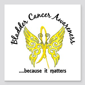 """Bladder Cancer Butterfly Square Car Magnet 3"""" x 3"""""""