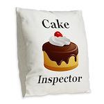 Cake Inspector Burlap Throw Pillow