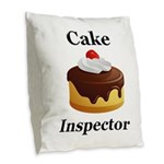 Cake Inspector Burlap Throw Pillow