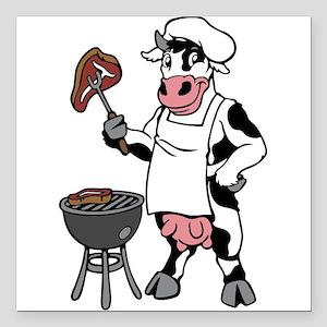 "Cow Grilling Steak Square Car Magnet 3"" x 3"""
