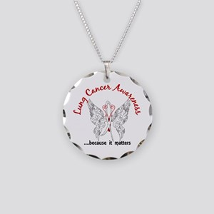 Lung Cancer Butterfly 6.1 Necklace Circle Charm