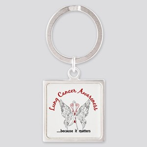 Lung Cancer Butterfly 6.1 Square Keychain