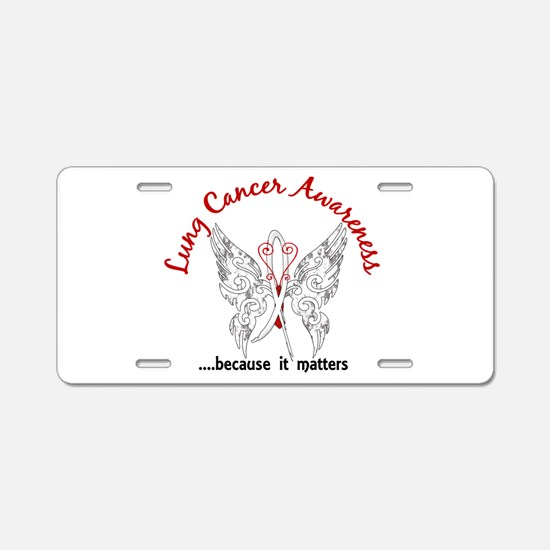 Lung Cancer Butterfly 6.1 Aluminum License Plate