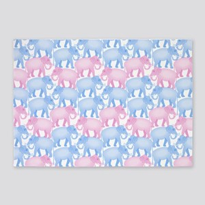 Pink and Blue Elephant Herd 5'x7'Area Rug