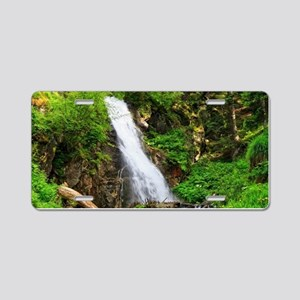 waterfall in Val di Sole Aluminum License Plate