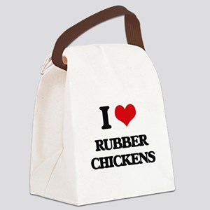 I Love Rubber Chickens Canvas Lunch Bag